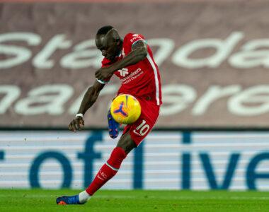 Liverpool's Sadio Mané shoots vs Leicester City