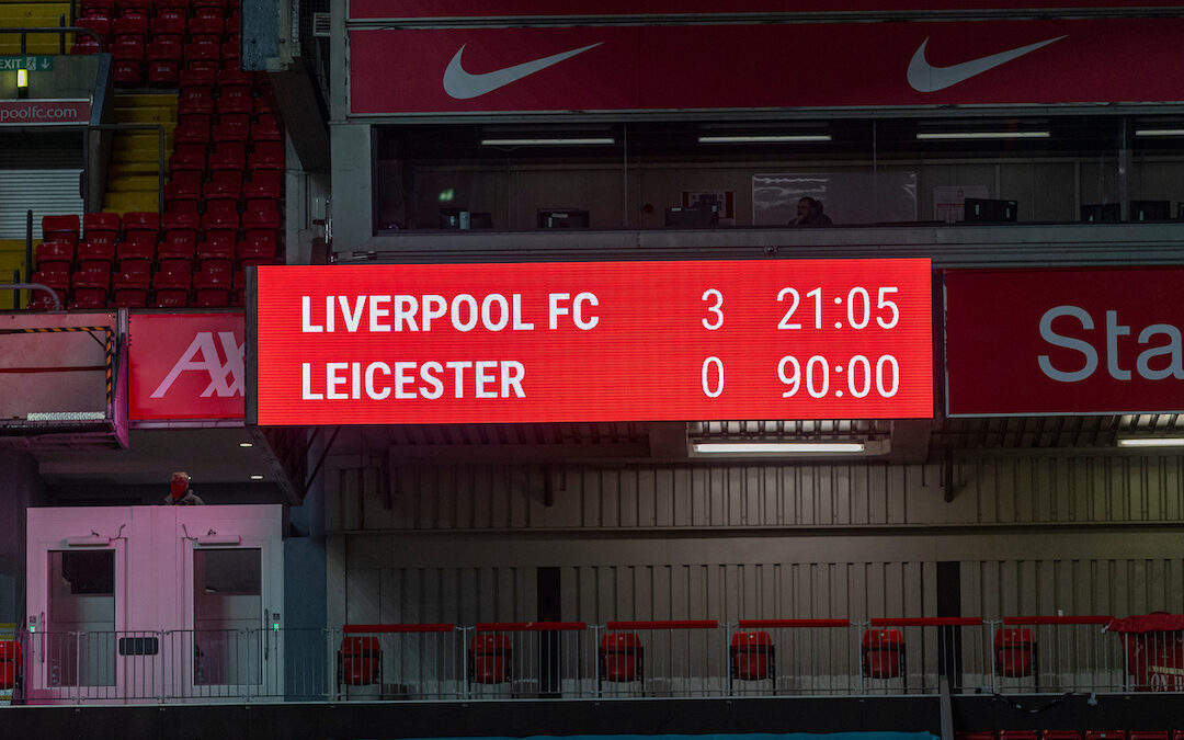 Liverpool's scoreboard after the FA Premier League match between Liverpool FC and Leicester City FC at Anfield