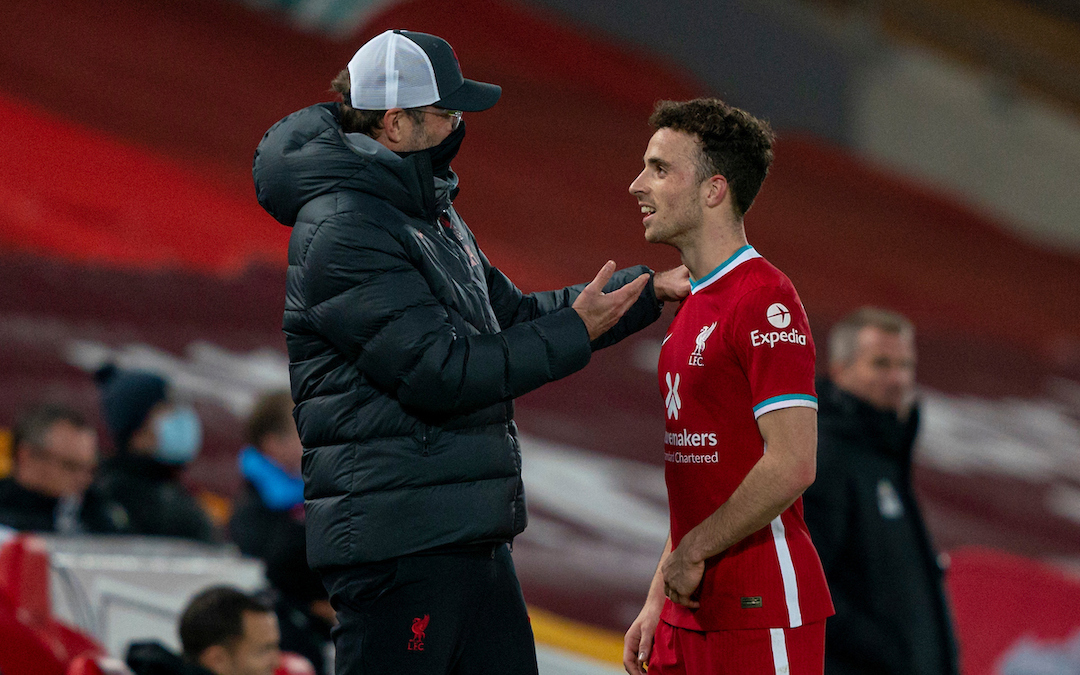 Liverpool's manager Jürgen Klopp with Diogo Jota during the FA Premier League match between Liverpool FC and Leicester City FC at Anfield