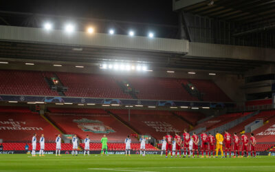 Liverpool and Atalanta players stand for a moment's silence, to remember Diego Maradona who died earlier in the day
