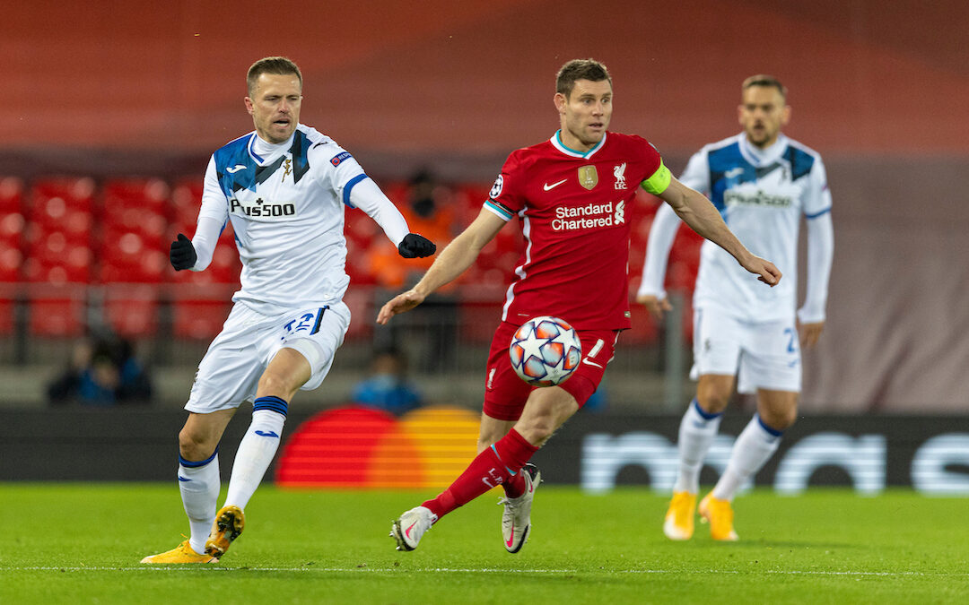 Liverpool's James Milner during the UEFA Champions League Group D match between Liverpool FC and Atalanta BC at Anfield
