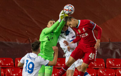 Liverpool's Rhys Williams during the UEFA Champions League Group D match between Liverpool FC and Atalanta BC at Anfield