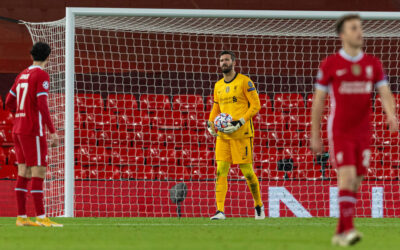 Liverpool's goalkeeper Alisson Becker looks dejected during the UEFA Champions League Group D match between Liverpool FC and Atalanta BC at Anfield