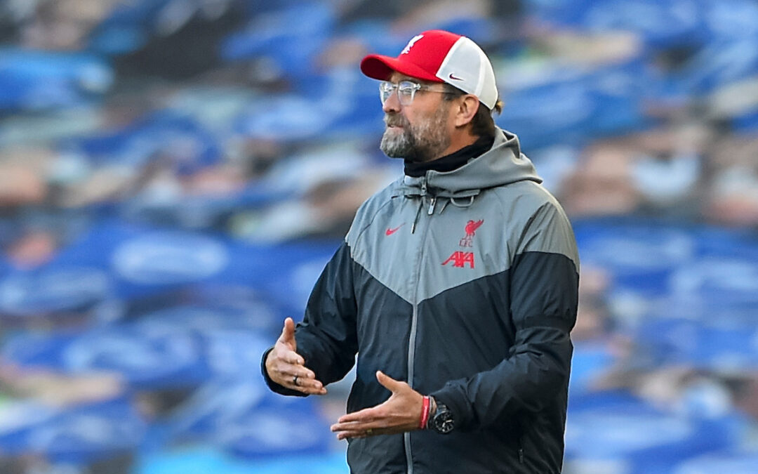 Liverpool's manager Jürgen Klopp reacts during the FA Premier League match between Brighton & Hove Albion FC and Liverpool FC at the AMEX Stadium