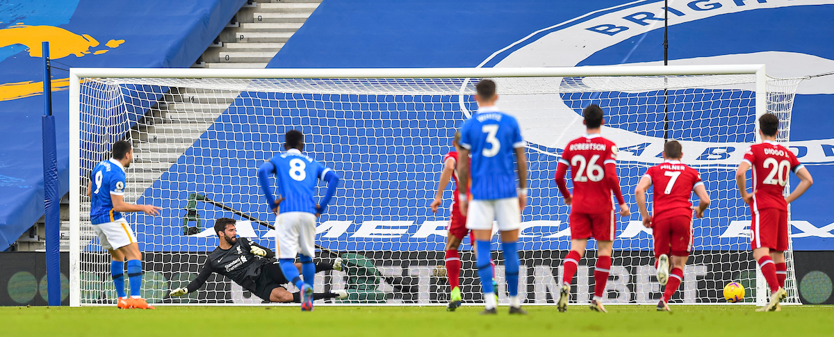 Neal Maupay sends his penalty kick wide during the FA Premier League match between Brighton & Hove Albion FC and Liverpool FC at the AMEX Stadium