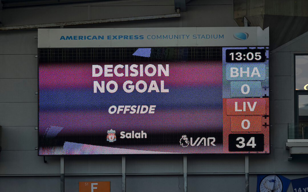 VAR review disallows Liverpool's opening goal during the FA Premier League match between Brighton & Hove Albion FC and Liverpool FC at the AMEX Stadium