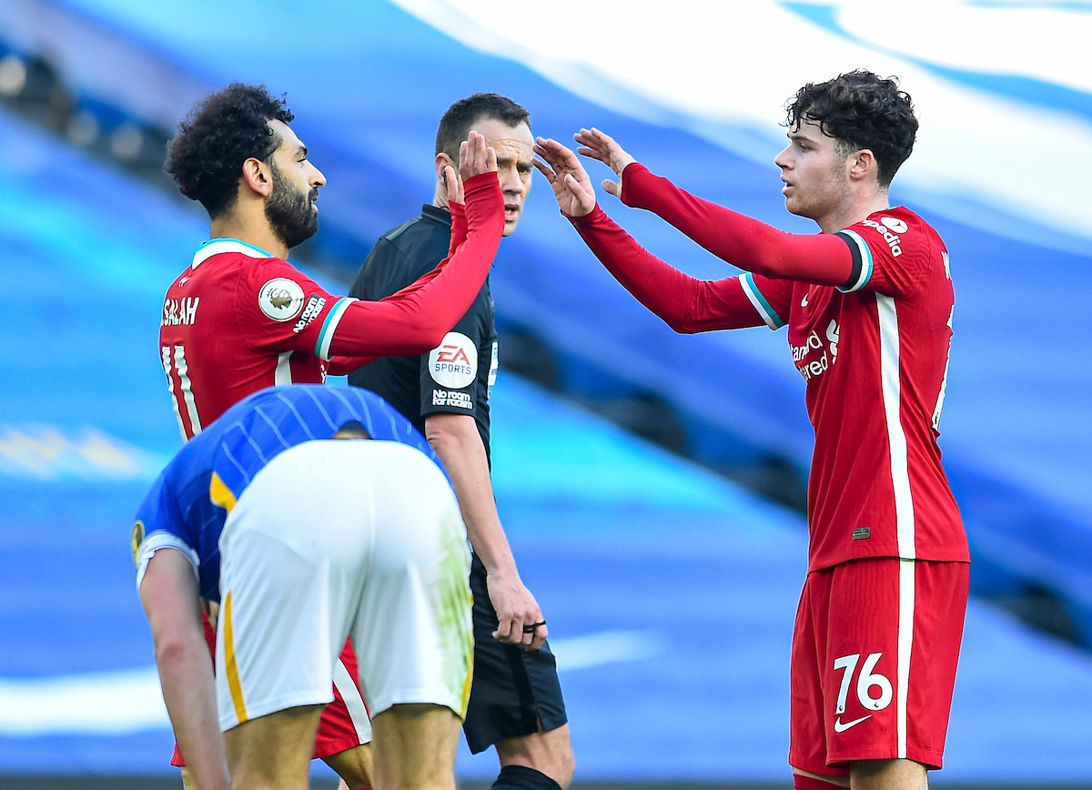Liverpool's Mohamed Salah celebrates after scoring, but it was disallowed after a VAR review, during the FA Premier League match between Brighton & Hove Albion FC and Liverpool FC at the AMEX Stadium