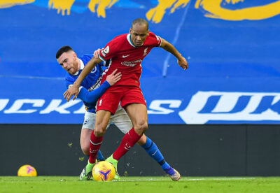 Liverpool's Fabio Henrique Tavares 'Fabinho' during the FA Premier League match between Brighton & Hove Albion FC and Liverpool FC at the AMEX Stadium