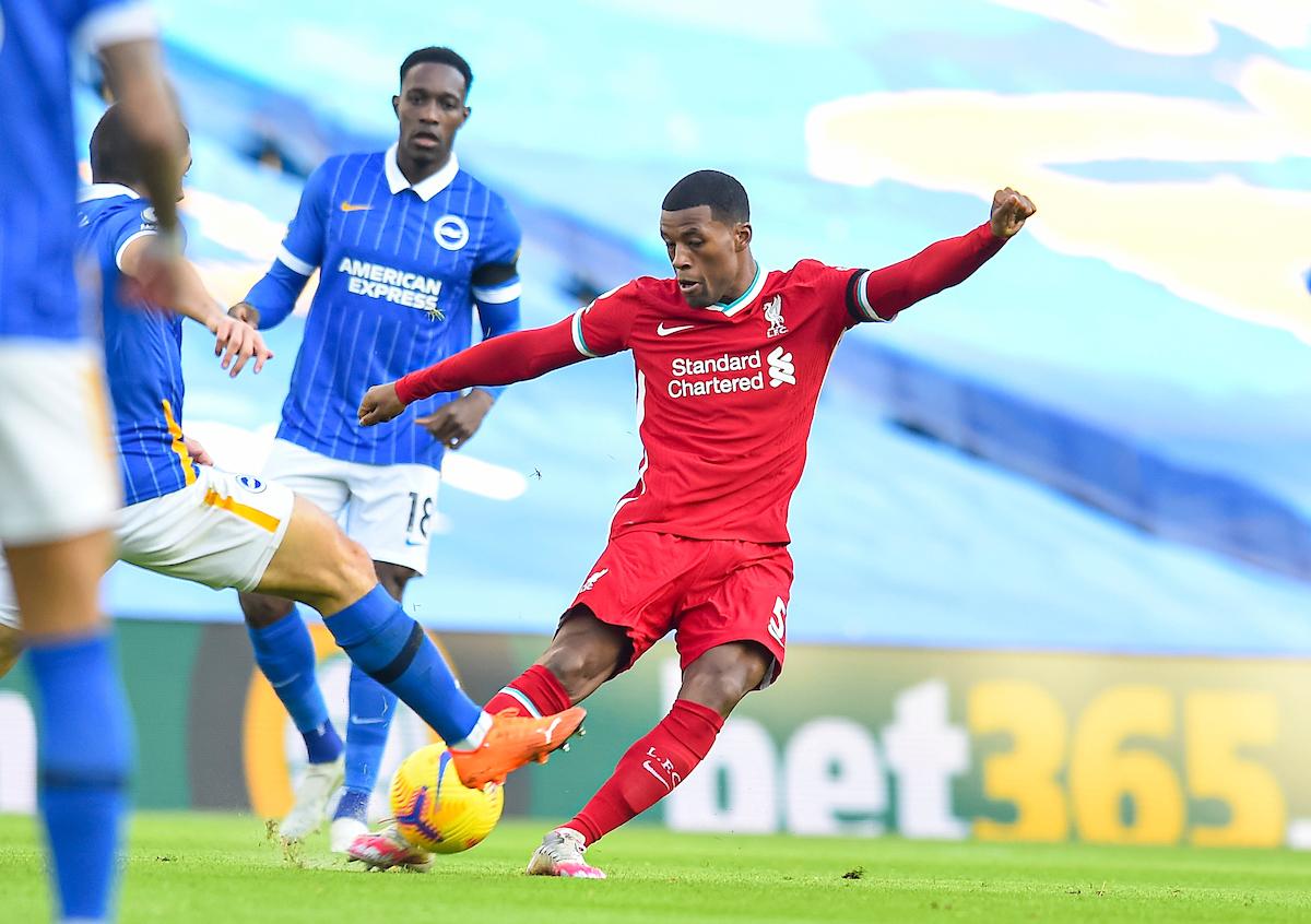 Liverpool's Georginio Wijnaldum during the FA Premier League match between Brighton & Hove Albion FC and Liverpool FC at the AMEX Stadium