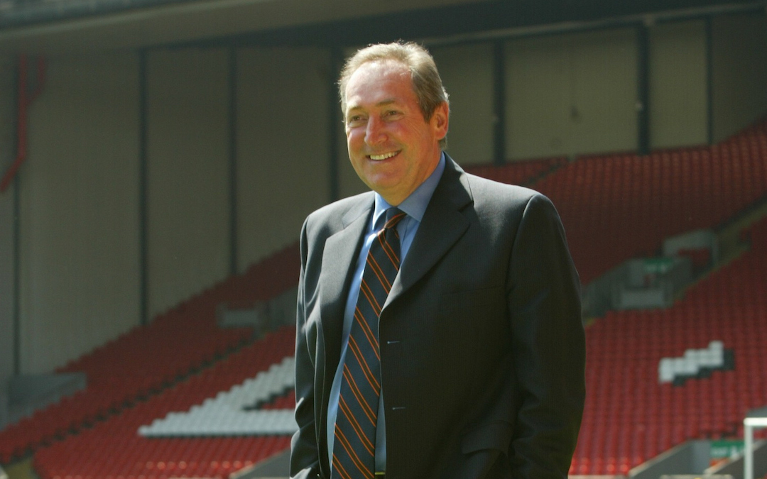 Liverpool's manager Gerard Houllier on the pitch at Anfield