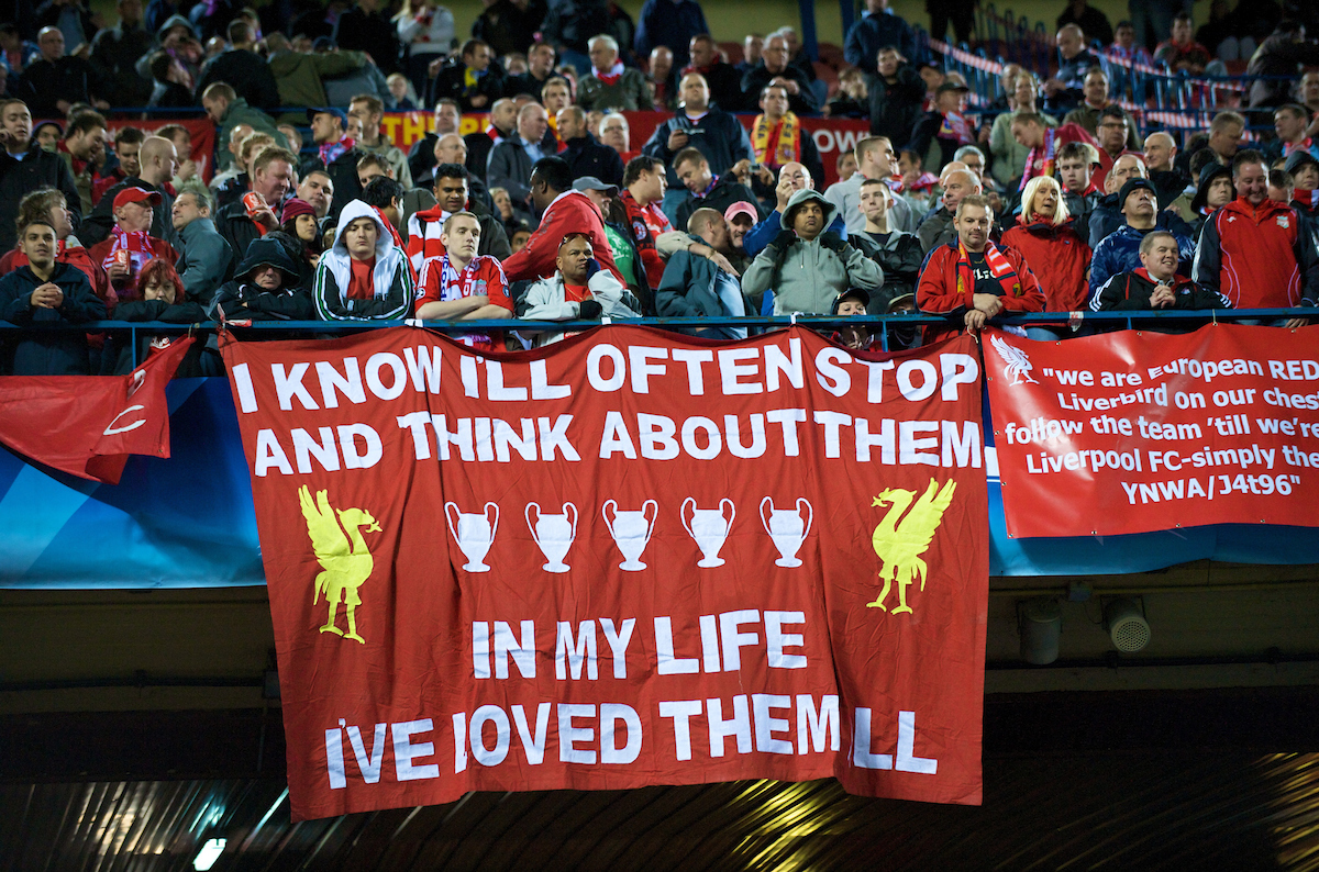 Liverpool supporters and a Beatles inspired banner