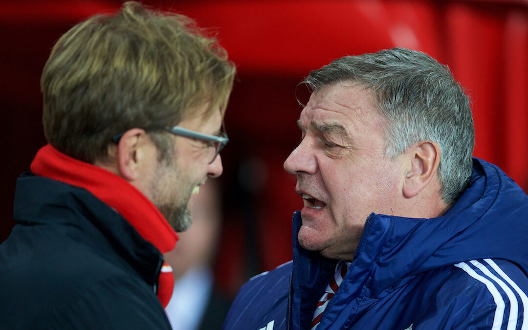 Liverpool manager Jürgen Klopp with West Brom manager Sam Allardyce