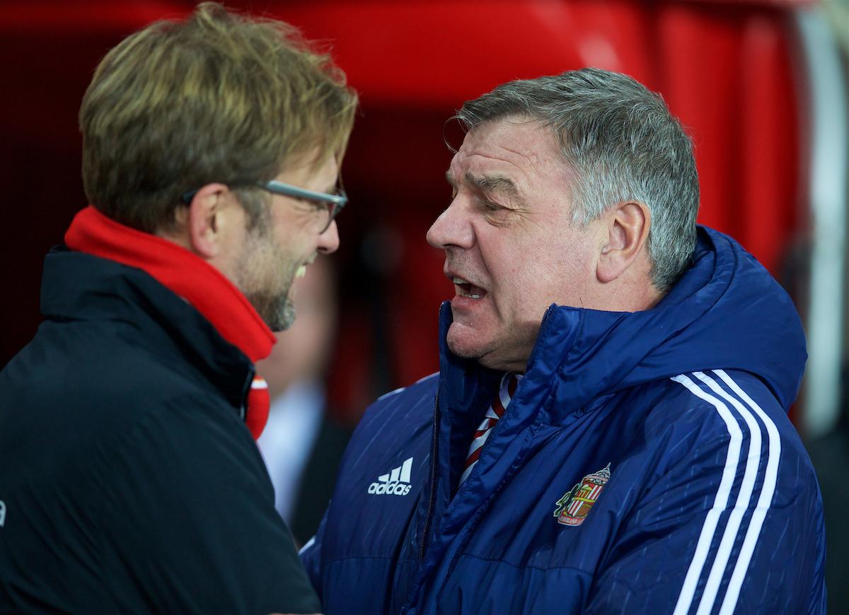 Former Sunderland manager Sam Allardyce and Liverpool's manager Jürgen Klopp