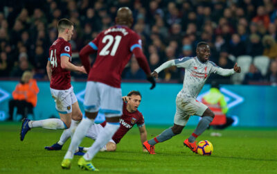 Liverpool's Naby Keita during the FA Premier League match between West Ham United FC and Liverpool FC at the London Stadium
