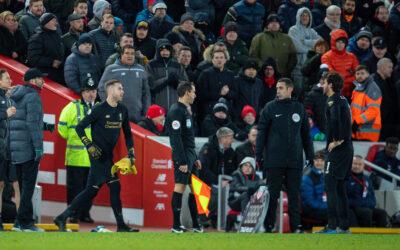 Liverpool's Adrián San Miguel del Castillo comes on for Alisson Becker