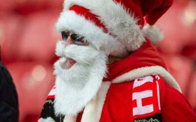 A Liverpool supporter dressed as Father Christmas