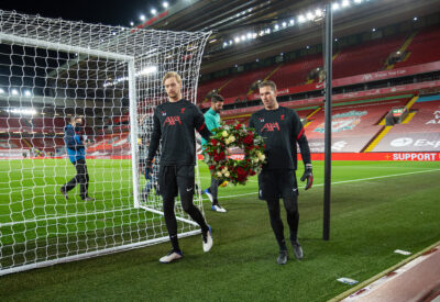 Liverpool's goalkeepers Caoimhin Kelleher and Adrián San Miguel del Castillo
