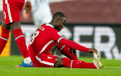 Liverpool's Naby Keita goes down with an injury