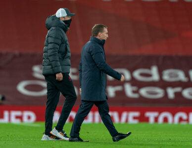 Leicester City's manager Brendan Rodgers and Liverpool's manager Jürgen Klopp