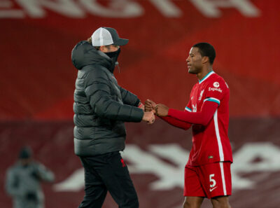 Liverpool's manager Jürgen Klopp celebrates with Georginio Wijnaldum