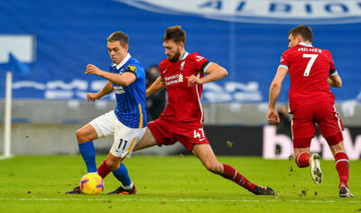 Liverpool FC's Nathaniel Phillips during the FA Premier League match with Brighton & Hove Albion FC