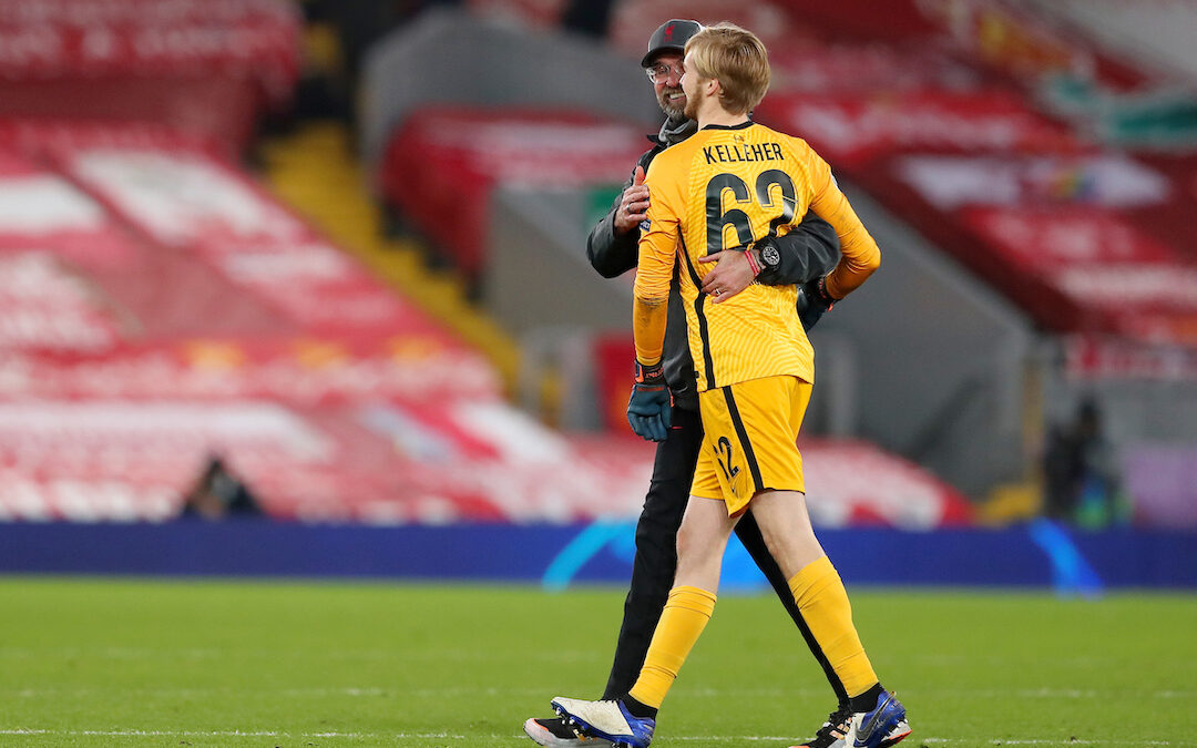 Liverpool's manager Jürgen Klopp hugs goalkeeper Caoimhin Kelleher after the UEFA Champions League Group D match between Liverpool FC and AFC Ajax at Anfield