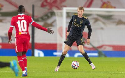 Ajax's Perr Schuurs during the UEFA Champions League Group D match with Liverpool FC