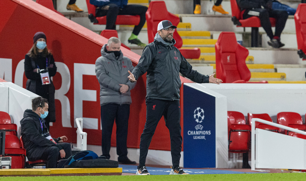 Liverpool's manager Jürgen Klopp reacts during the UEFA Champions League Group D match between Liverpool FC and AFC Ajax at Anfield