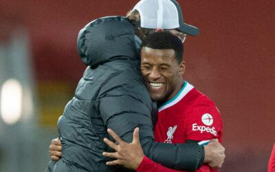 Liverpool's manager Jürgen Klopp celebrates with Georginio Wijnaldum