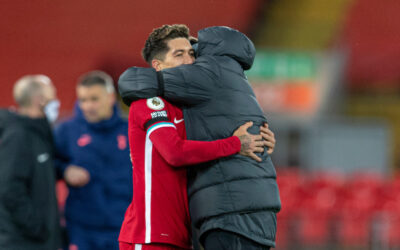 Liverpool's match-winning goal-scorer Roberto Firmino celebrates with manager Jürgen Klopp at the final whistle during the FA Premier League match between Liverpool FC and Tottenham Hotspur FC at Anfield