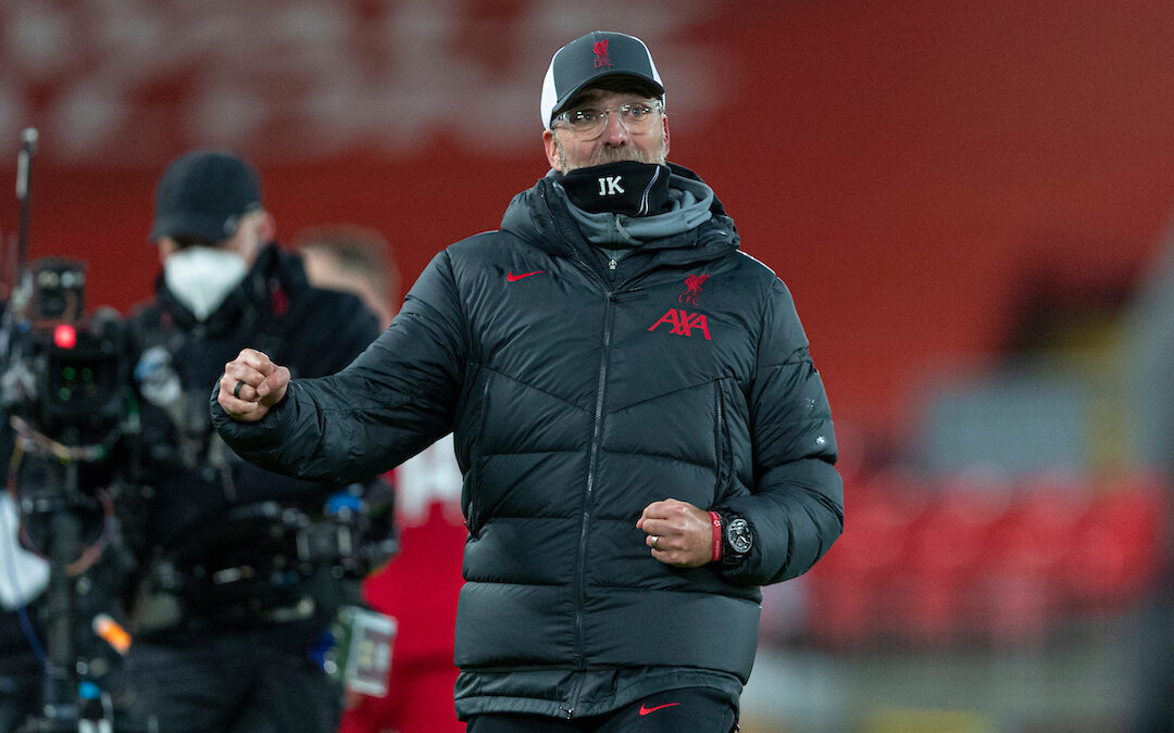 Liverpool's manager Jürgen Klopp celebrates at the final whistle during the FA Premier League match between Liverpool FC and Tottenham Hotspur FC at Anfield