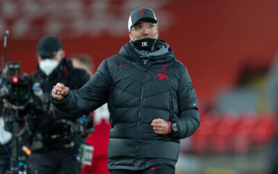 LIVERPOOL, ENGLAND - Wednesday, December 16, 2020: Liverpool's manager Jürgen Klopp celebrates at the final whistle during the FA Premier League match between Liverpool FC and Tottenham Hotspur FC at Anfield. Liverpool won 2-1.