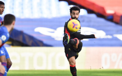 Liverpool's Mohamed Salah scores the seventh goal during the FA Premier League match between Crystal Palace FC and Liverpool FC at Selhurst Park