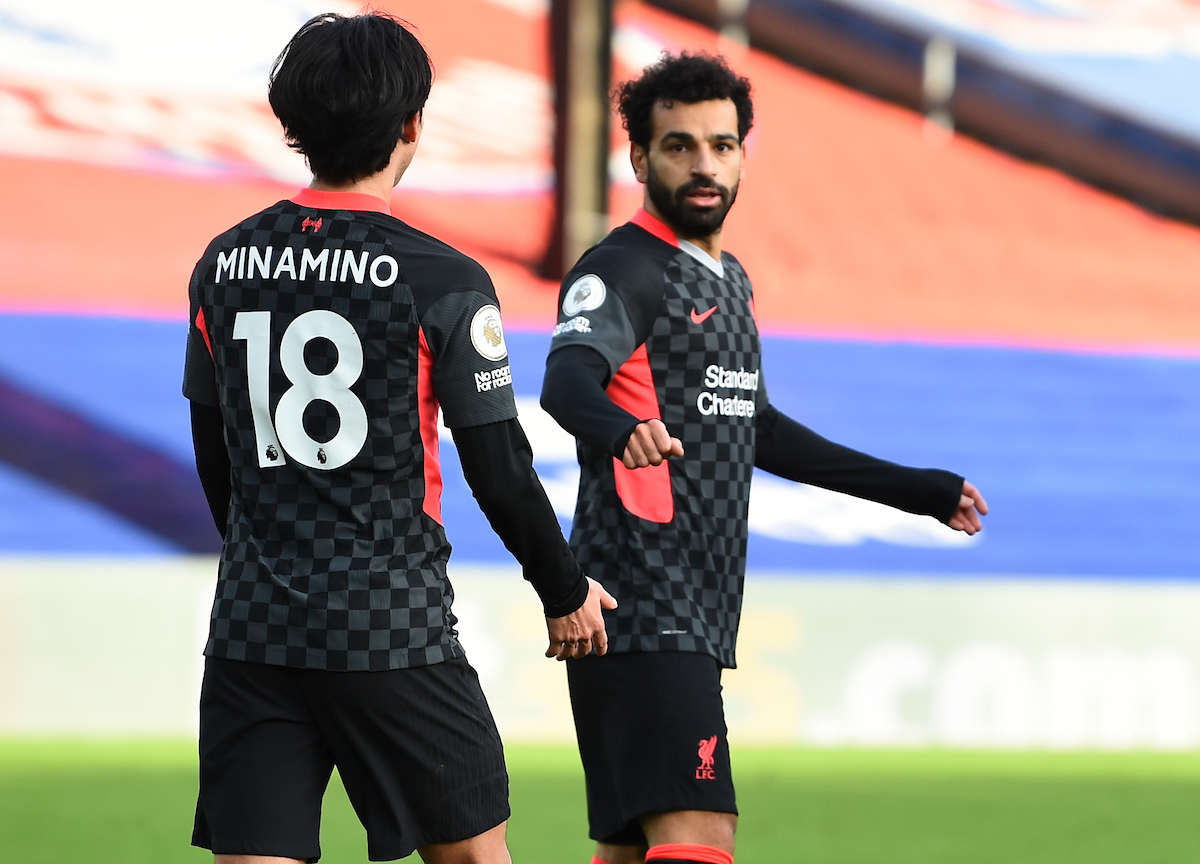 Liverpool's Mohamed Salah celebrates after scoring the seventh goal during the FA Premier League match between Crystal Palace FC and Liverpool FC at Selhurst Park