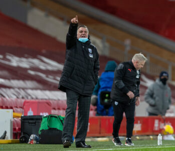 West Bromwich Albion's manager Sam Allardyce, wearing a face mask, during the FA Premier League match between Liverpool FC and West Bromwich Albion FC at Anfield