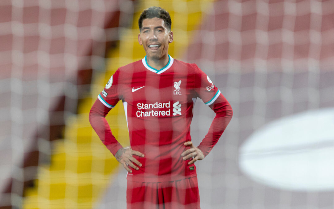 Liverpool's Roberto Firmino looks dejected after missing a chance during the FA Premier League match between Liverpool FC and West Bromwich Albion FC at Anfield