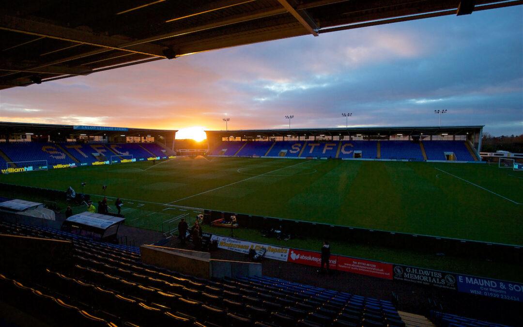 Sunset over Shrewsbury Town's New Meadow stadium