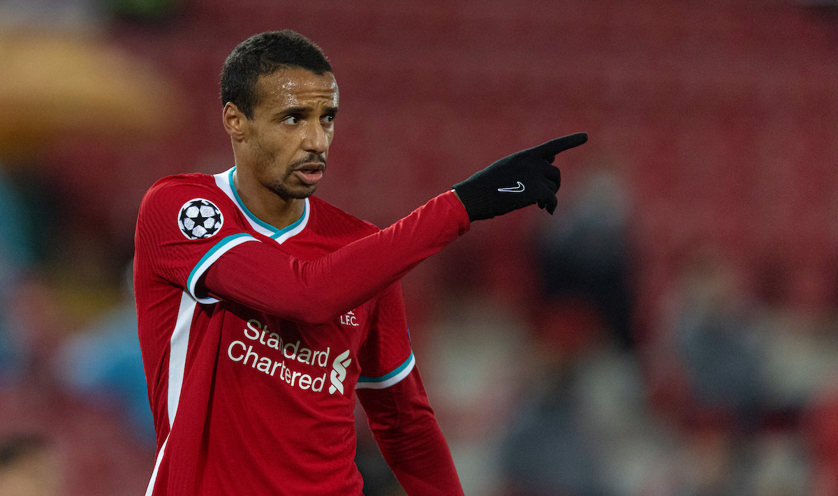 Liverpool's Joel Matip during the UEFA Champions League Group D match between Liverpool FC and AFC Ajax at Anfield