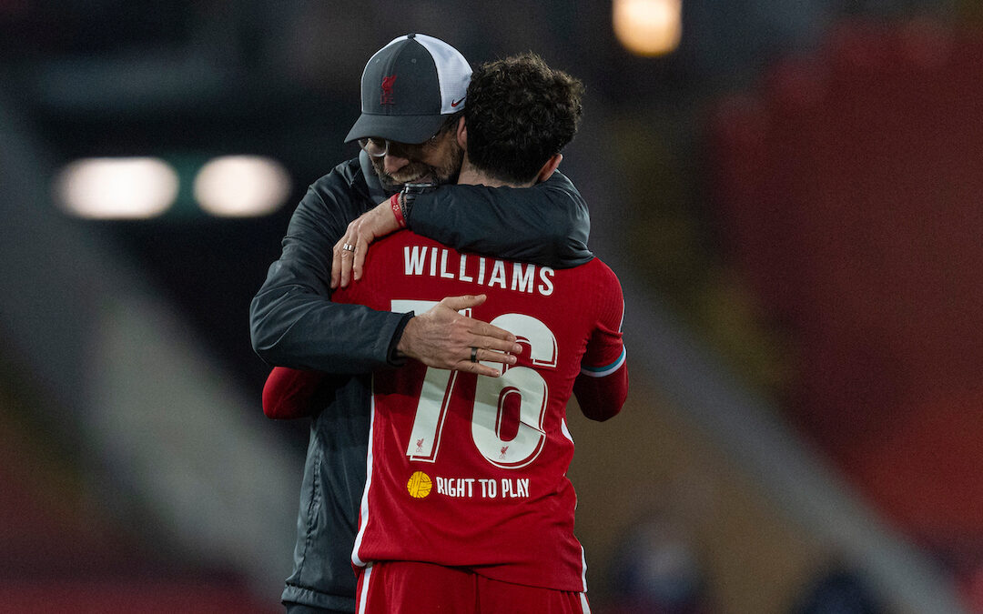 Liverpool's manager Jürgen Klopp embraces Neco Williams after the UEFA Champions League Group D match between Liverpool FC and AFC Ajax at Anfield