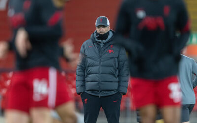 LIVERPOOL, ENGLAND - Sunday, December 6, 2020: Liverpool's manager Jürgen Klopp during the pre-match warm-up before the FA Premier League match between Liverpool FC and Wolverhampton Wanderers FC at Anfield