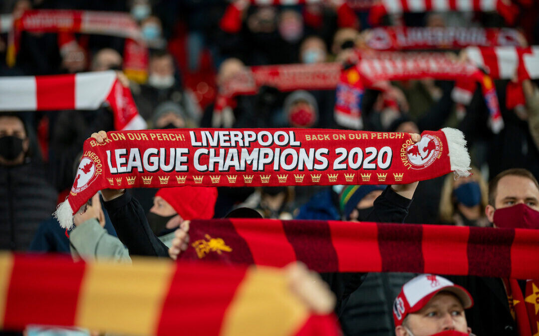 """Liverpool supporters sing """"You'll Never Walk Alone"""" before the FA Premier League match between Liverpool FC and Wolverhampton Wanderers FC at Anfield"""