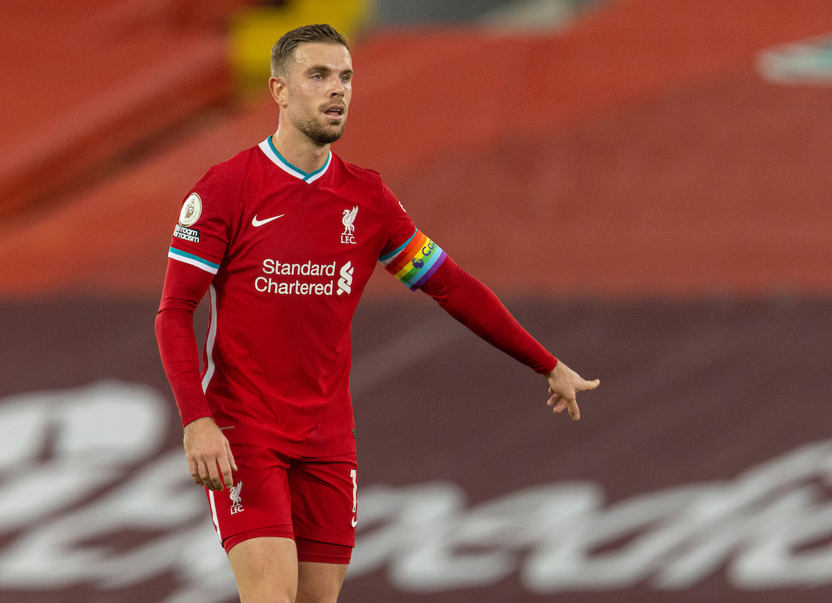 Liverpool's captain Jordan Henderson during the FA Premier League match between Liverpool FC and Wolverhampton Wanderers FC at Anfield