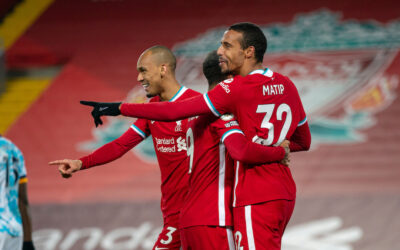 Joel Matip celebrates after scoring during the FA Premier League match between Liverpool FC and Wolverhampton Wanderers FC at Anfield