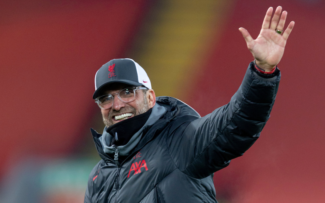 Liverpool's manager Jürgen Klopp celebrates after the FA Premier League match between Liverpool FC and Wolverhampton Wanderers FC at Anfield