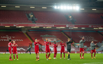 Liverpool players applaud the supporters on the Kop after the FA Premier League match between Liverpool FC and Wolverhampton Wanderers FC at Anfield
