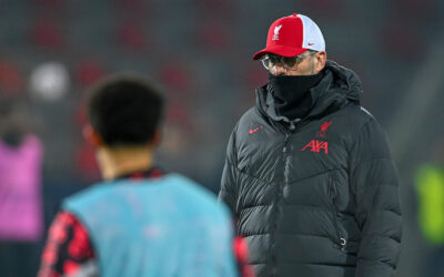 Liverpool's manager Jürgen Klopp during the pre-match warm-up before the UEFA Champions League Group D match between FC Midtjylland and Liverpool FC