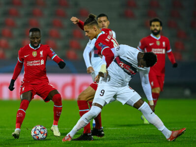 Liverpool's Rhys Williams tackles FC Midtjylland's Sory Kaba during the UEFA Champions League Group D match