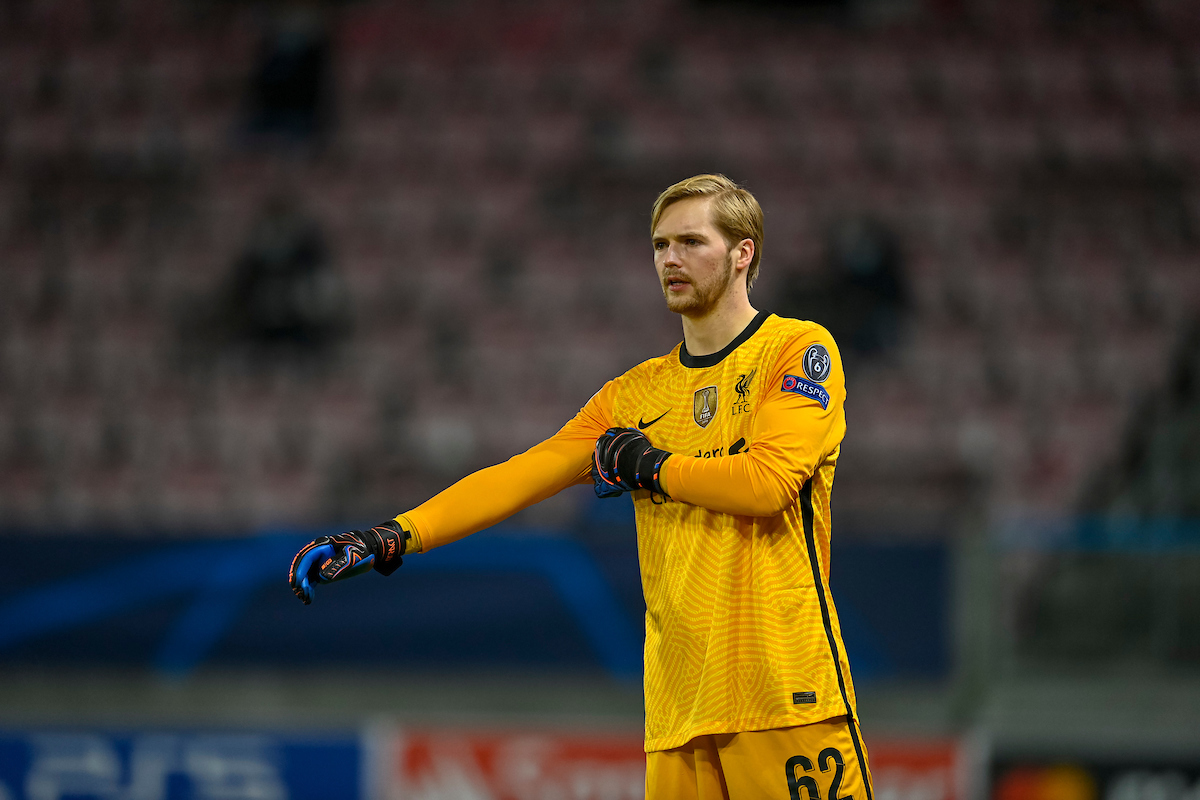 Liverpool's goalkeeper Caoimhin Kelleher during the UEFA Champions League Group D match between FC Midtjylland and Liverpool FC at the Herning Arena