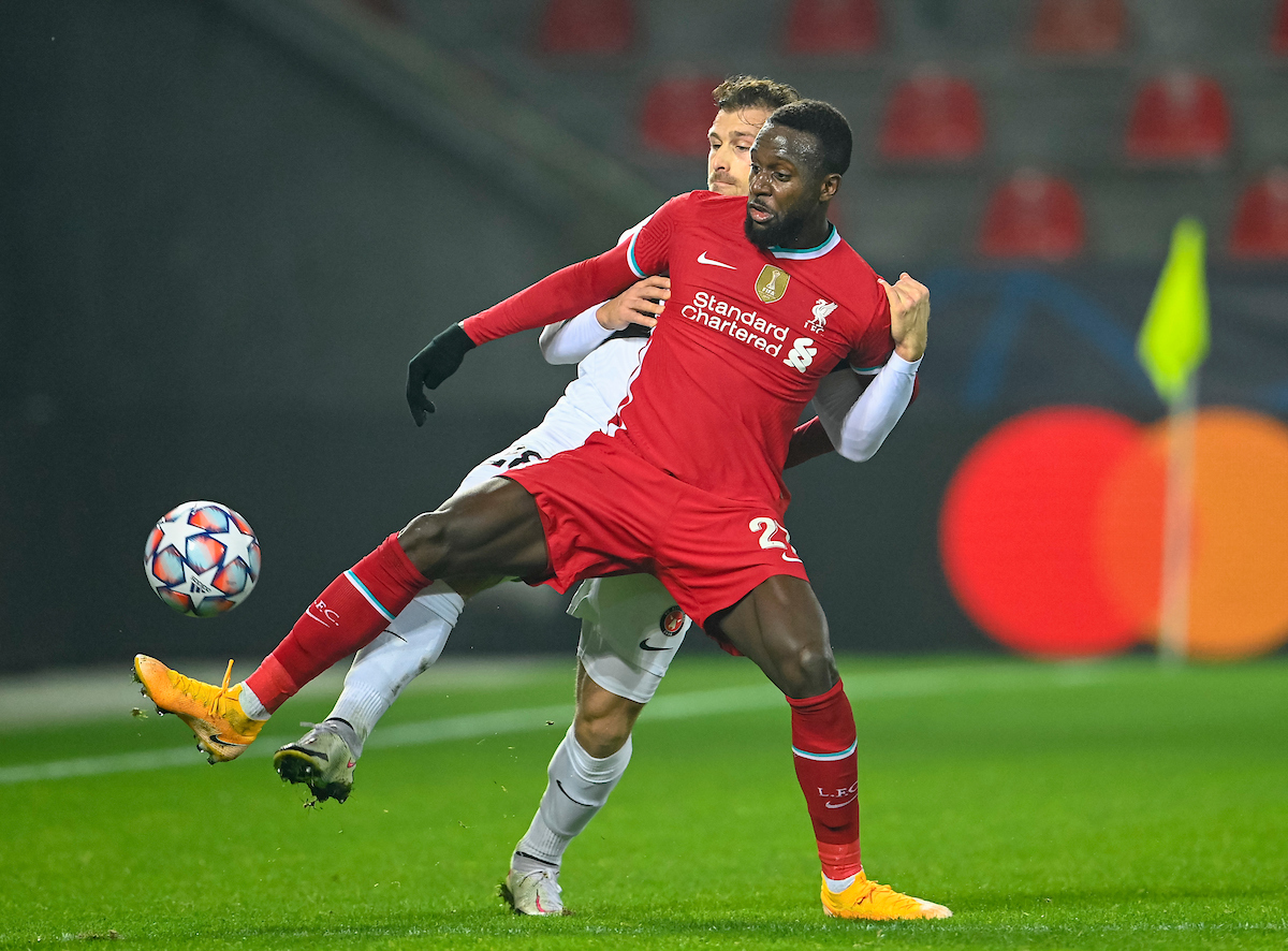 Liverpool's Divock Origi during the UEFA Champions League Group D match between FC Midtjylland and Liverpool FC at the Herning Arena