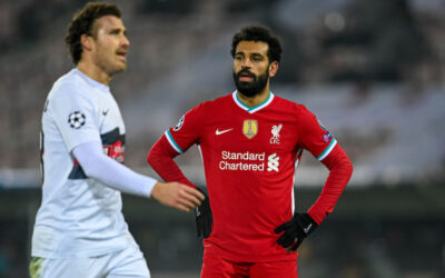 Liverpool's Mohamed Salah during the UEFA Champions League Group D match between FC Midtjylland and Liverpool FC at the Herning Arena